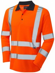 Leo Swimbridge Comfort L/S Polo Shirt Hi-Vis Orange