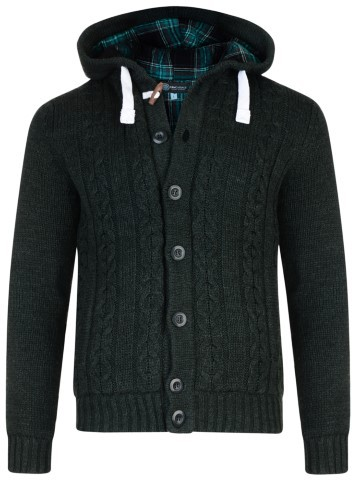 Kam Jeans Padded Knitted Cardigan Dk Green - Megztiniai ir Džemperiai - Megztiniai ir Džemperiai - 2XL-8XL