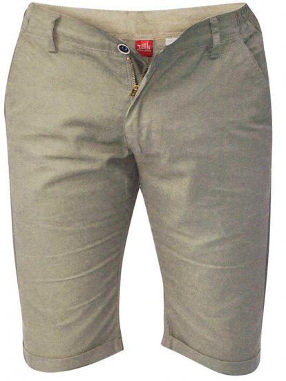 D555 PANAMA Chino Short With Side Elasticated Waist Khaki - Šortai - Šortai - W40-W60