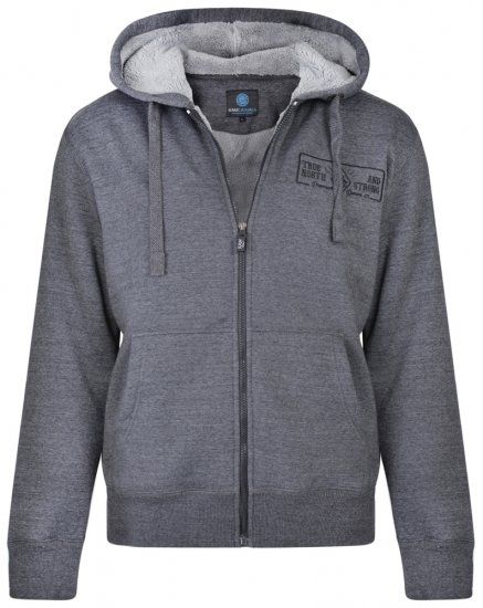 Kam Jeans 7006 Sherpa Lined Hoodie Charcoal - Megztiniai ir Džemperiai - Megztiniai ir Džemperiai - 2XL-8XL