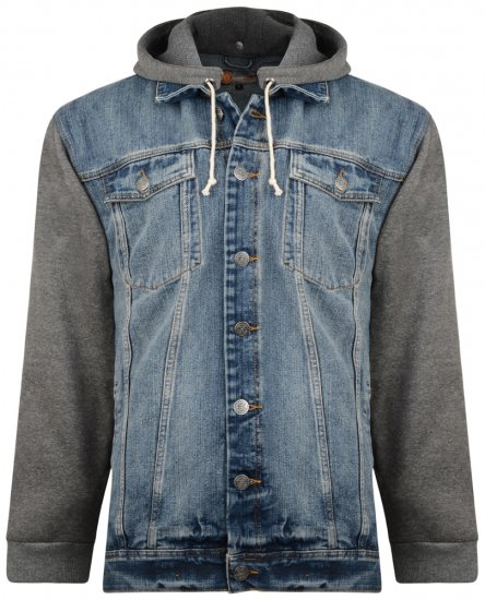 Kam Jeans Miguel Denim Jacket with Jersey Sleeves - Striukės & Lietaus apranga - Striukės - 2XL-8XL